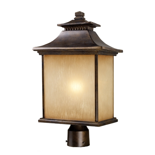 Elk Lighting Post Light with Beige / Cream Glass in Hazlenut Bronze Finish 42184/1