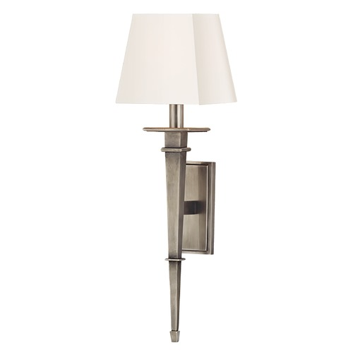 Hudson Valley Lighting Sconce Wall Light with White Shade in Aged Silver Finish 230-AS-WS