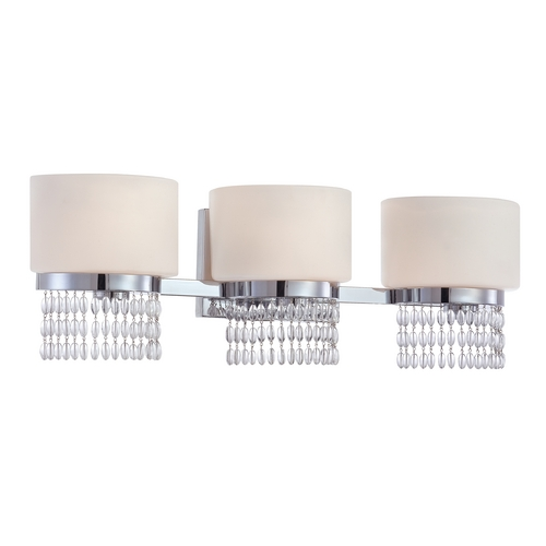 Designers Fountain Lighting Bathroom Light with White Glass in Chrome Finish 83903-CH