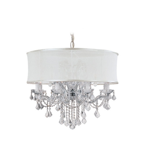 Crystorama Lighting Crystal Chandelier with White Shade in Polished Chrome Finish 4489-CH-SMW-CLQ