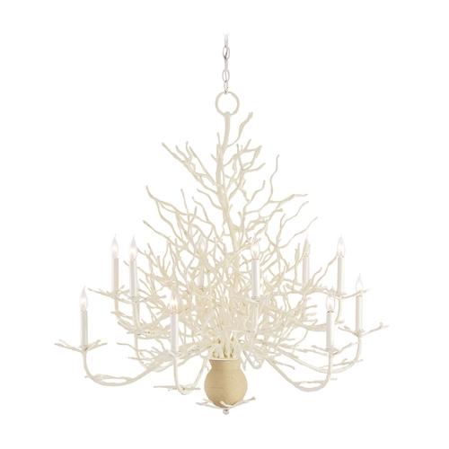 Currey and Company Lighting Chandelier in White Coral/natural Sand Finish 9188