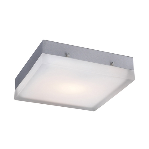 PLC Lighting Modern Sconce Wall Light with White Glass in Satin Nickel Finish 6574 SN