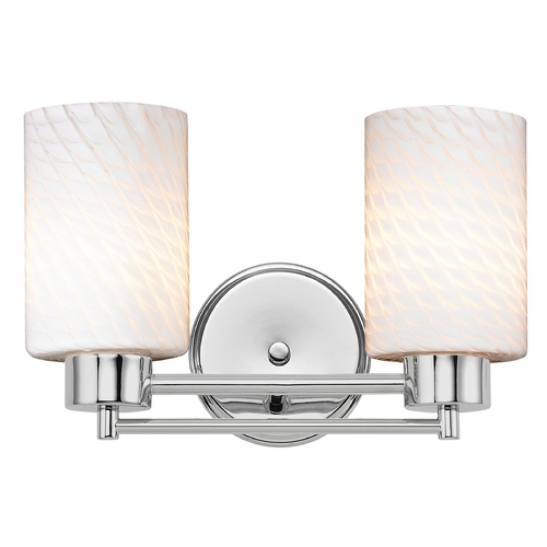 Design Classics Lighting Modern Bathroom Light with White Glass in Chrome Finish 702-26 GL1020C