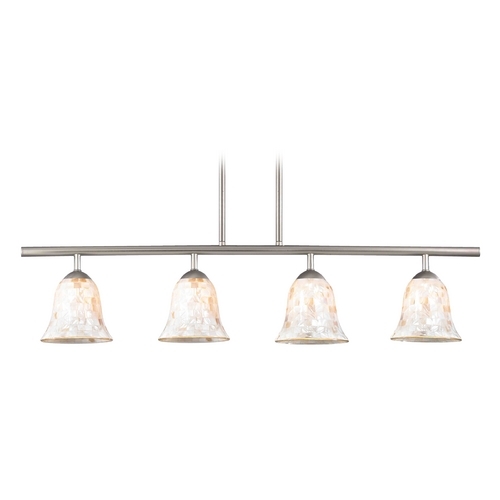 Design Classics Lighting Island Light with Beige / Cream Glass in Satin Nickel Finish 718-09 GL9222-M