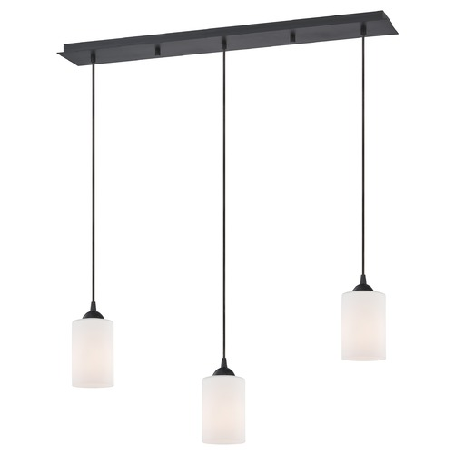 Design Classics Lighting 36-Inch Linear Pendant with 3-Lights in Neuvelle Bronze Finish with Satin White Glass 5833-220 GL1028C