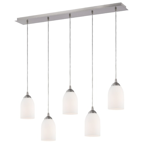 Design Classics Lighting 36-Inch Linear Pendant with 5-Lights in Satin Nickel Finish with Satin White Glass 5835-09 GL1028D