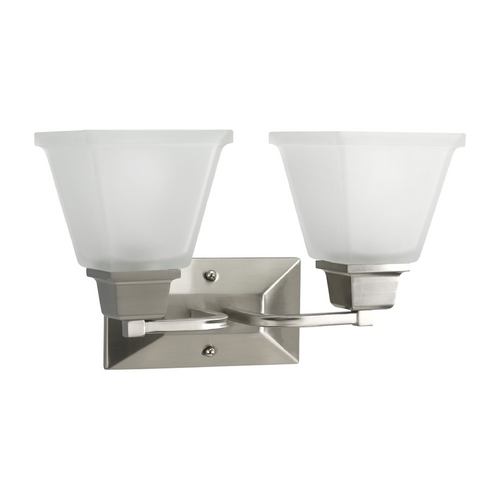 Progress Lighting Progress Bathroom Light with White Glass in Brushed Nickel Finish P2738-09