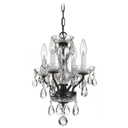 Crystorama Lighting Crystorama Traditional 4-Light Crystal Chandelier in English Bronze 5534-EB-CL-I