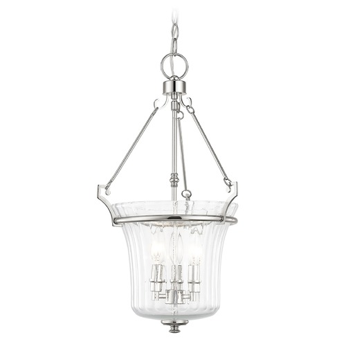Livex Lighting Livex Lighting Cortland Polished Nickel Pendant Light with Fluted Shade 50924-35