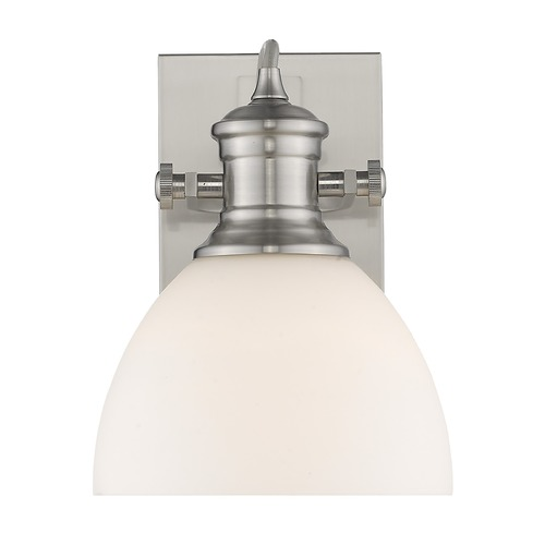 Golden Lighting Golden Lighting Hines Pewter Sconce with Opal Shade 3118-BA1PW-OP