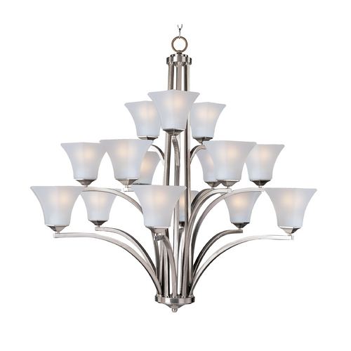 Maxim Lighting Modern Chandelier with White Glass in Satin Nickel Finish 20097FTSN