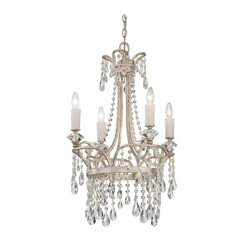 Quoizel Lighting Crystal Chandelier in Vintage Silver Finish TCA5004VP