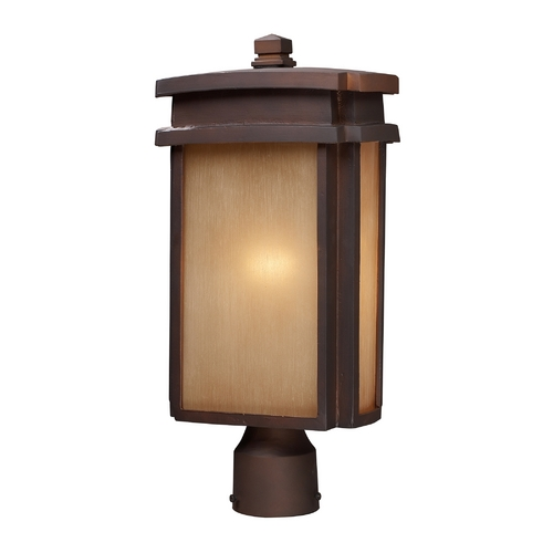 Elk Lighting Post Light with Beige / Cream Glass in Clay Bronze Finish 42145/1