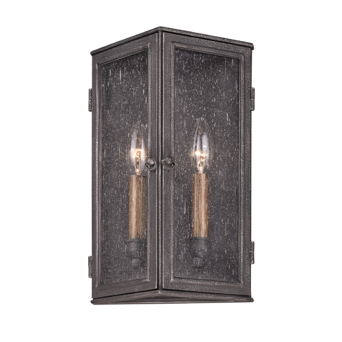 Troy Lighting Outdoor Wall Light with Clear Glass in Aged Pewter Finish B3202