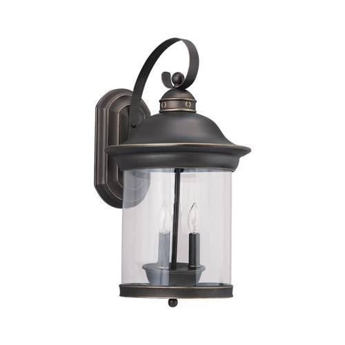Sea Gull Lighting Outdoor Wall Light with Clear Glass in Antique Bronze Finish 88083-71