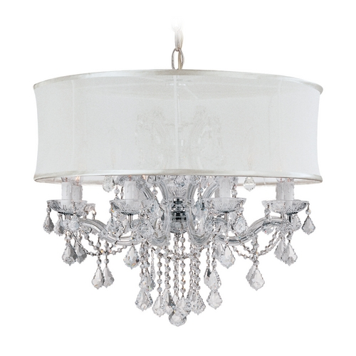 Crystorama Lighting Crystal Chandelier with White Shade in Polished Chrome Finish 4489-CH-SMW-CLS