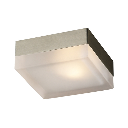 PLC Lighting Modern Sconce Wall Light with White Glass in Satin Nickel Finish 6573 SN