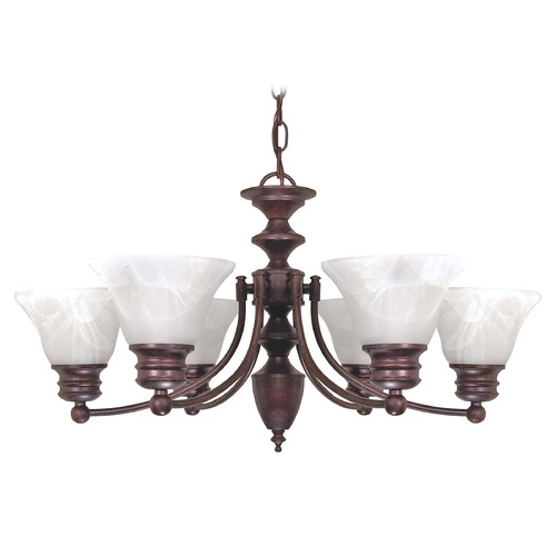 Nuvo Lighting Chandelier with Alabaster Glass in Old Bronze Finish 60/358