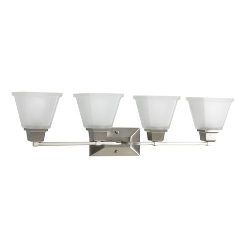 Progress Lighting Progress Bathroom Light with White Glass in Brushed Nickel Finish P2745-09