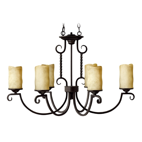 Hinkley Lighting Olde Black Chandelier with Six Lights and Candle Style Shades 3508OL