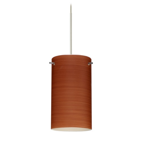 Besa Lighting Besa Lighting Stilo 7 Satin Nickel Mini-Pendant Light with Cylindrical Shade 1XT-4404CH-SN