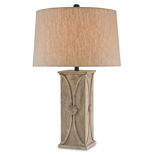 Currey and Company Lighting Currey and Company Coastsbridge Antique Concrete Table Lamp with Empire Shade 6841