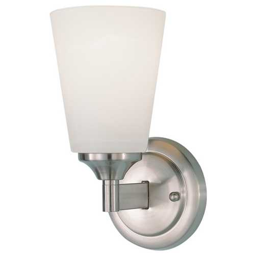 Feiss Lighting Modern Sconce Wall Light with White Glass in Brushed Steel Finish WB1249BS