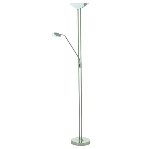 Eglo Lighting Eglo Baya 1 Matte Nickel LED Torchiere Lamp with Bowl / Dome Shade 93874A