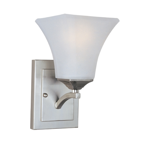 Maxim Lighting Modern Sconce Wall Light with White Glass in Satin Nickel Finish 20098FTSN