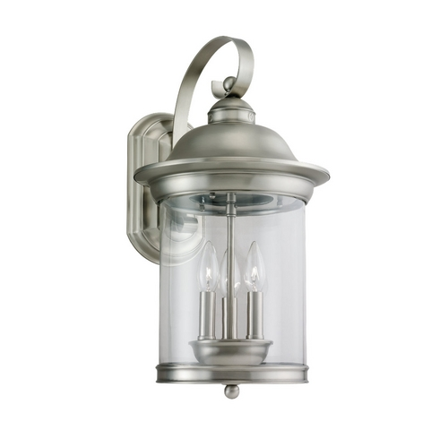 Sea Gull Lighting Outdoor Wall Light with Clear Glass in Antique Brushed Nickel Finish 88083-965