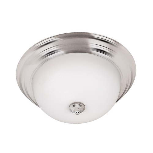 Kenroy Home Lighting Modern Flushmount Light with White Glass in Brushed Steel Finish 80369BS