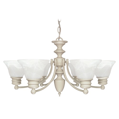 Nuvo Lighting Chandelier with Alabaster Glass in Textured White Finish 60/359