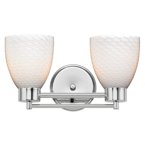 Design Classics Lighting Modern Bathroom Light with White Glass in Chrome Finish 702-26 GL1020MB