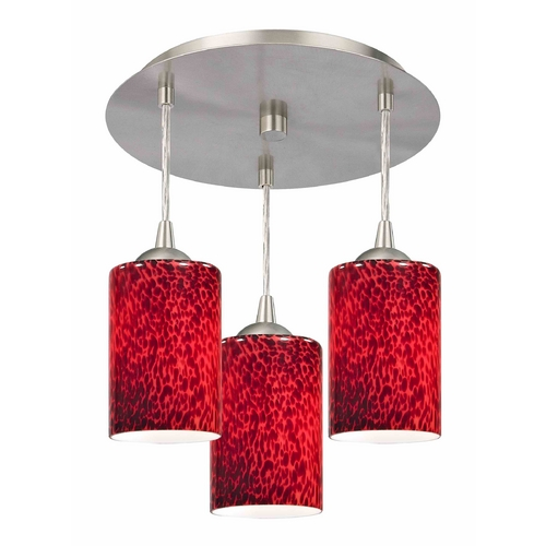 Design Classics Lighting 3-Light Semi-Flush Light with Red Glass - Nickel Finish 579-09 GL1018C