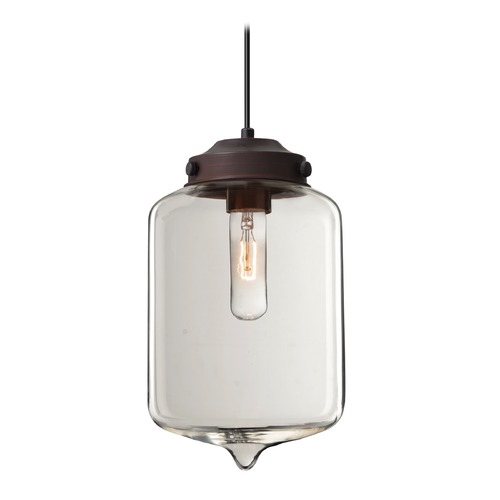 Besa Lighting Besa Lighting Olin Bronze Mini-Pendant Light with Cylindrical Shade 1JT-OLINCL-BR