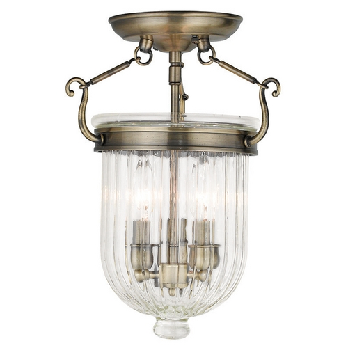 Livex Lighting Livex Lighting Coventry Antique Brass Semi-Flushmount Light 50514-01