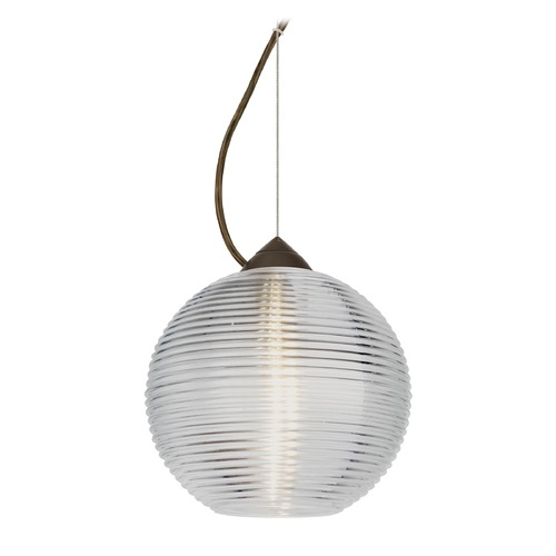 Besa Lighting Besa Lighting Kristall Bronze LED Pendant Light with Globe Shade 1KX-461600-LED-BR