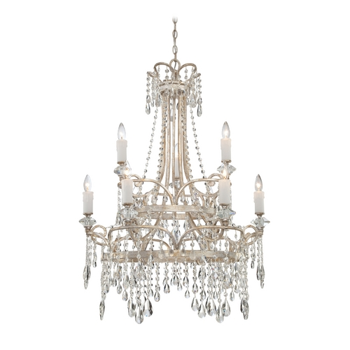 Quoizel Lighting Crystal Chandelier in Vintage Silver Finish TCA5009VP