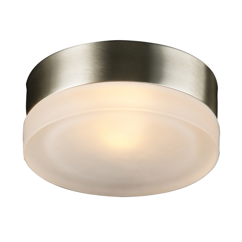 PLC Lighting Modern Sconce Wall Light with White Glass in Satin Nickel Finish 6571 SN
