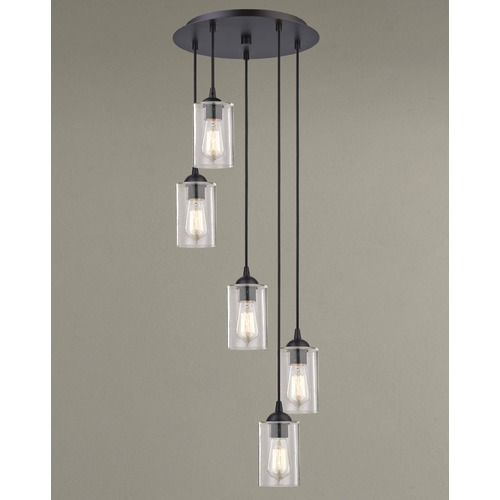 Design Classics Lighting Seeded Glass Multi-Light Pendant Bronze 5 Lt 580-220 GL1041C
