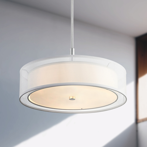 Design Classics Lighting Pendant Light White Drum Shade Chrome 1809-26