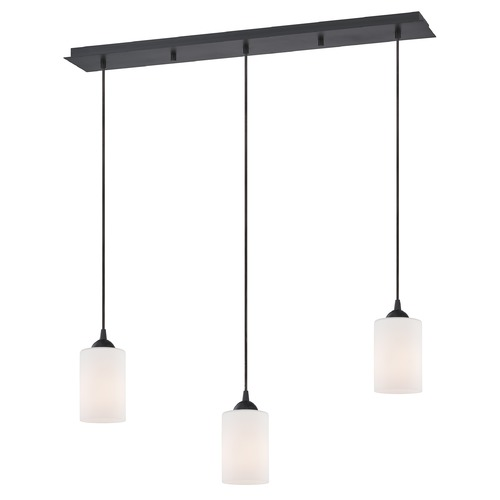 Design Classics Lighting 36-Inch Linear Pendant with 3-Lights in Neuvelle Bronze Finish with Shiny Opal White Glass 5833-220 GL1024C