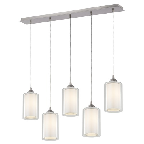 Design Classics Lighting 36-Inch Linear Pendant with 5-Lights in Satin Nickel Finish with Clear / Frosted White Glass 5835-09 GL1061 GL1040C