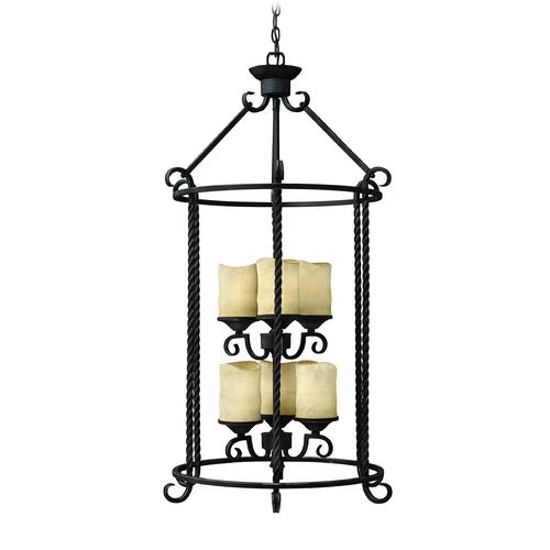 Hinkley Lighting Pendant Light with Brown Glass in Olde Black Finish 3506OL