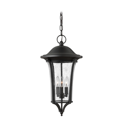 Hinkley Lighting Seeded Glass Outdoor Hanging Light Black Hinkley Lighting 1382BK