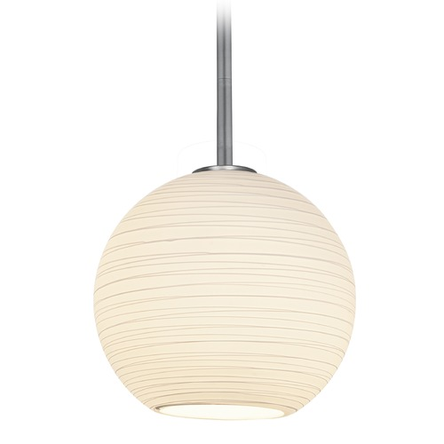 Access Lighting Access Lighting Japanese Lantern Brushed Steel Mini-Pendant Light with Bowl / Dome Shade 28087-3R-BS/WHTLN