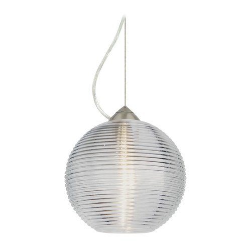 Besa Lighting Besa Lighting Kristall Satin Nickel LED Pendant Light with Globe Shade 1KX-461600-LED-SN