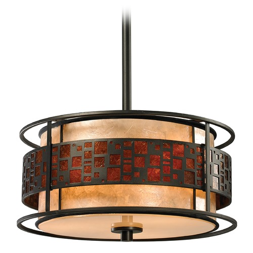 Z-Lite Z-Lite Oak Park Java Bronze Pendant Light with Drum Shade Z14-50P-C
