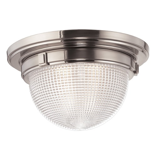 Hudson Valley Lighting Flushmount Light with Clear Glass in Satin Nickel Finish 4418-SN