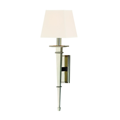 Hudson Valley Lighting Sconce Wall Light with White Shade in Polished Nickel Finish 230-PN-WS